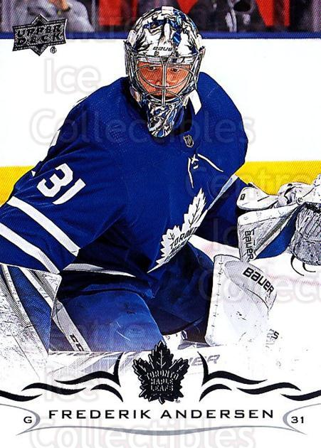 2018-19 Upper Deck #167 Frederik Andersen<br/>3 In Stock - $1.00 each - <a href=https://centericecollectibles.foxycart.com/cart?name=2018-19%20Upper%20Deck%20%23167%20Frederik%20Anders...&quantity_max=3&price=$1.00&code=734358 class=foxycart> Buy it now! </a>