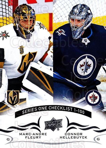 2018-19 Upper Deck #199 Marc-Andre Fleury, Connor Hellebuyck, Checklist<br/>12 In Stock - $1.00 each - <a href=https://centericecollectibles.foxycart.com/cart?name=2018-19%20Upper%20Deck%20%23199%20Marc-Andre%20Fleu...&quantity_max=12&price=$1.00&code=734390 class=foxycart> Buy it now! </a>