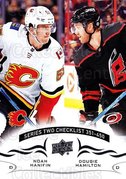 2018-19 Upper Deck #450 Noah Hanifin, Dougie Hamilton, Checklist<br/>1 In Stock - $1.00 each - <a href=https://centericecollectibles.foxycart.com/cart?name=2018-19%20Upper%20Deck%20%23450%20Noah%20Hanifin,%20D...&quantity_max=1&price=$1.00&code=734641 class=foxycart> Buy it now! </a>