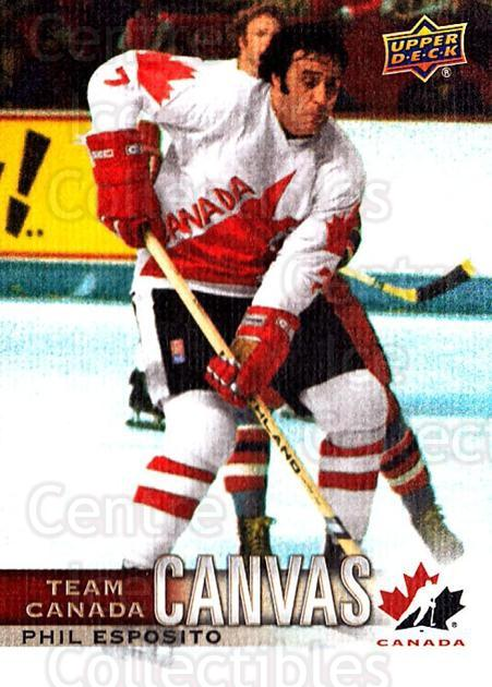 2017-18 Upper Deck Team Canada Canvas #41 Phil Esposito<br/>1 In Stock - $3.00 each - <a href=https://centericecollectibles.foxycart.com/cart?name=2017-18%20Upper%20Deck%20Team%20Canada%20Canvas%20%2341%20Phil%20Esposito...&quantity_max=1&price=$3.00&code=734736 class=foxycart> Buy it now! </a>