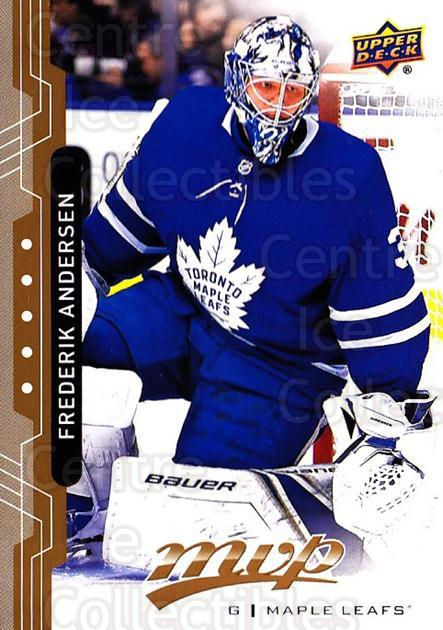 2018-19 Upper Deck MVP #197 Frederik Andersen<br/>4 In Stock - $2.00 each - <a href=https://centericecollectibles.foxycart.com/cart?name=2018-19%20Upper%20Deck%20MVP%20%23197%20Frederik%20Anders...&quantity_max=4&price=$2.00&code=735449 class=foxycart> Buy it now! </a>
