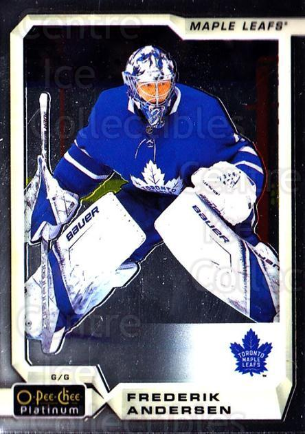 2018-19 O-Pee-Chee Platinum #127 Frederik Andersen<br/>7 In Stock - $1.00 each - <a href=https://centericecollectibles.foxycart.com/cart?name=2018-19%20O-Pee-Chee%20Platinum%20%23127%20Frederik%20Anders...&quantity_max=7&price=$1.00&code=735629 class=foxycart> Buy it now! </a>