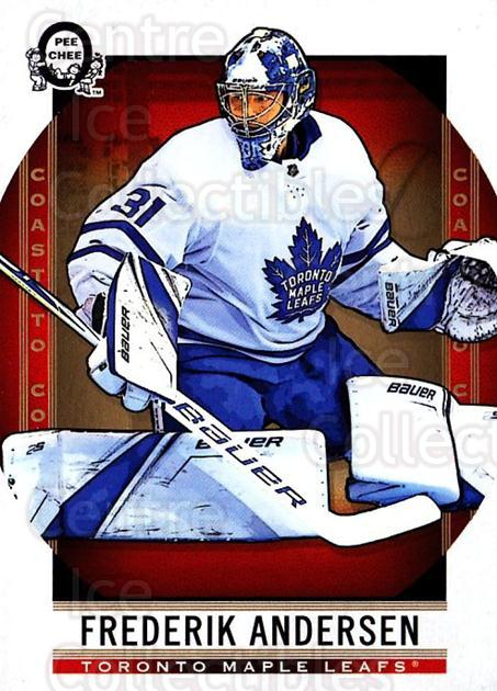2018-19 O-Pee-Chee Coast to Coast #48 Frederik Andersen<br/>7 In Stock - $2.00 each - <a href=https://centericecollectibles.foxycart.com/cart?name=2018-19%20O-Pee-Chee%20Coast%20to%20Coast%20%2348%20Frederik%20Anders...&quantity_max=7&price=$2.00&code=735750 class=foxycart> Buy it now! </a>