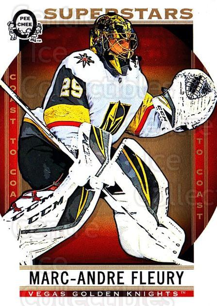2018-19 O-Pee-Chee Coast to Coast #115 Marc-Andre Fleury<br/>4 In Stock - $3.00 each - <a href=https://centericecollectibles.foxycart.com/cart?name=2018-19%20O-Pee-Chee%20Coast%20to%20Coast%20%23115%20Marc-Andre%20Fleu...&quantity_max=4&price=$3.00&code=735817 class=foxycart> Buy it now! </a>