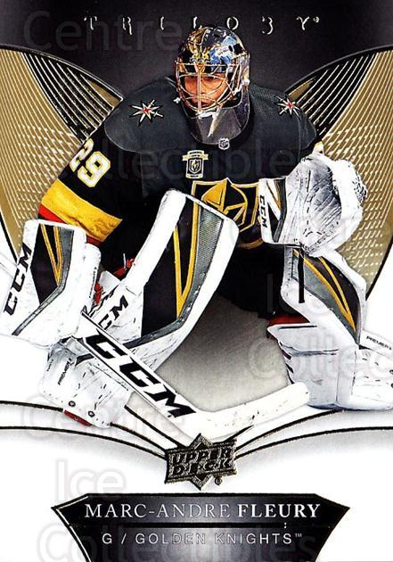 2018-19 UD Trilogy #5 Marc-Andre Fleury<br/>2 In Stock - $3.00 each - <a href=https://centericecollectibles.foxycart.com/cart?name=2018-19%20UD%20Trilogy%20%235%20Marc-Andre%20Fleu...&quantity_max=2&price=$3.00&code=735917 class=foxycart> Buy it now! </a>