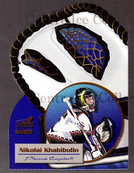 1999-00 Aurora Glove Unlimited #16 Nikolai Khabibulin<br/>3 In Stock - $3.00 each - <a href=https://centericecollectibles.foxycart.com/cart?name=1999-00%20Aurora%20Glove%20Unlimited%20%2316%20Nikolai%20Khabibu...&quantity_max=3&price=$3.00&code=73627 class=foxycart> Buy it now! </a>