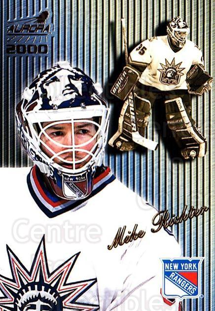 1999-00 Aurora Striped #97 Mike Richter<br/>5 In Stock - $2.00 each - <a href=https://centericecollectibles.foxycart.com/cart?name=1999-00%20Aurora%20Striped%20%2397%20Mike%20Richter...&quantity_max=5&price=$2.00&code=73689 class=foxycart> Buy it now! </a>