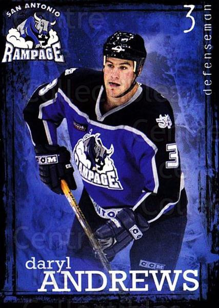 2003-04 San Antonio Rampage #4 Daryl Andrews<br/>3 In Stock - $3.00 each - <a href=https://centericecollectibles.foxycart.com/cart?name=2003-04%20San%20Antonio%20Rampage%20%234%20Daryl%20Andrews...&quantity_max=3&price=$3.00&code=738537 class=foxycart> Buy it now! </a>