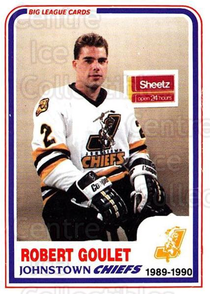 1989-90 Johnstown Chiefs #20 Bob Goulet<br/>1 In Stock - $3.00 each - <a href=https://centericecollectibles.foxycart.com/cart?name=1989-90%20Johnstown%20Chiefs%20%2320%20Bob%20Goulet...&quantity_max=1&price=$3.00&code=738771 class=foxycart> Buy it now! </a>