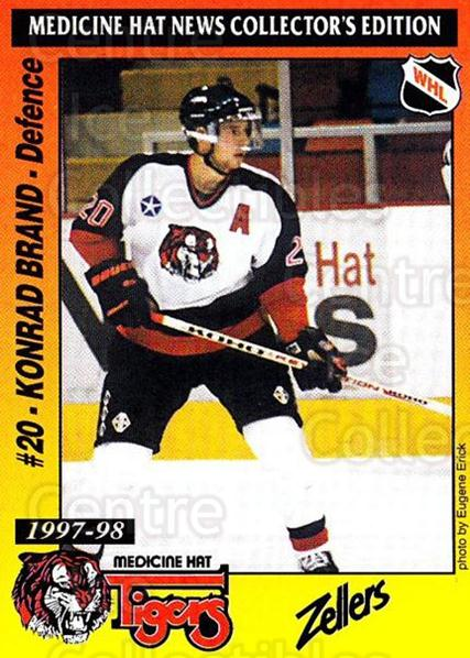 1997-98 Medicine Hat Tigers #3 Konrad Brand<br/>1 In Stock - $3.00 each - <a href=https://centericecollectibles.foxycart.com/cart?name=1997-98%20Medicine%20Hat%20Tigers%20%233%20Konrad%20Brand...&quantity_max=1&price=$3.00&code=739198 class=foxycart> Buy it now! </a>