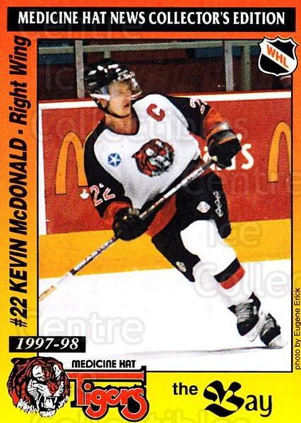 1997-98 Medicine Hat Tigers #12 Kevin McDonald<br/>1 In Stock - $3.00 each - <a href=https://centericecollectibles.foxycart.com/cart?name=1997-98%20Medicine%20Hat%20Tigers%20%2312%20Kevin%20McDonald...&quantity_max=1&price=$3.00&code=739207 class=foxycart> Buy it now! </a>