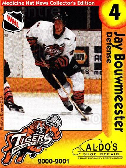2000-01 Medicine Hat Tigers #3 Jay Bouwmeester<br/>2 In Stock - $5.00 each - <a href=https://centericecollectibles.foxycart.com/cart?name=2000-01%20Medicine%20Hat%20Tigers%20%233%20Jay%20Bouwmeester...&quantity_max=2&price=$5.00&code=739707 class=foxycart> Buy it now! </a>