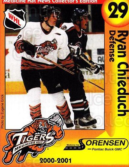 2000-01 Medicine Hat Tigers #20 Ryan Chieduch<br/>2 In Stock - $3.00 each - <a href=https://centericecollectibles.foxycart.com/cart?name=2000-01%20Medicine%20Hat%20Tigers%20%2320%20Ryan%20Chieduch...&quantity_max=2&price=$3.00&code=739724 class=foxycart> Buy it now! </a>