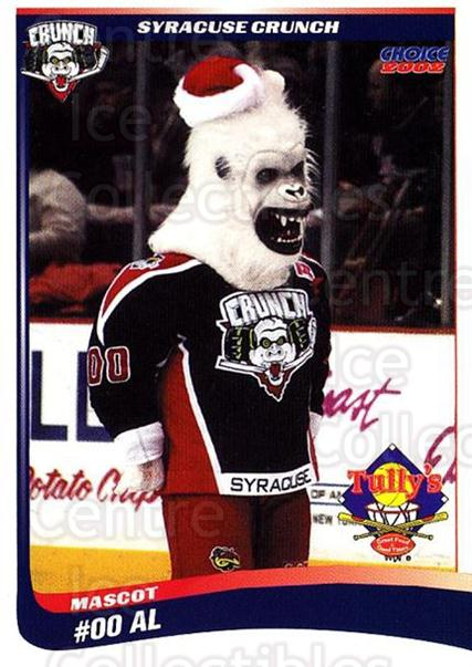 2001-02 Syracuse Crunch #25 Mascot<br/>2 In Stock - $3.00 each - <a href=https://centericecollectibles.foxycart.com/cart?name=2001-02%20Syracuse%20Crunch%20%2325%20Mascot...&quantity_max=2&price=$3.00&code=739852 class=foxycart> Buy it now! </a>