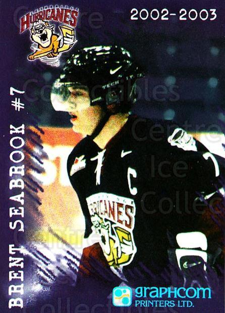2002-03 Lethbridge Hurricanes #1 Brent Seabrook<br/>2 In Stock - $10.00 each - <a href=https://centericecollectibles.foxycart.com/cart?name=2002-03%20Lethbridge%20Hurricanes%20%231%20Brent%20Seabrook...&quantity_max=2&price=$10.00&code=740481 class=foxycart> Buy it now! </a>