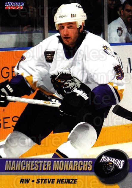 2002-03 Manchester Monarchs #A08 Steve Heinze<br/>1 In Stock - $3.00 each - <a href=https://centericecollectibles.foxycart.com/cart?name=2002-03%20Manchester%20Monarchs%20%23A08%20Steve%20Heinze...&quantity_max=1&price=$3.00&code=740540 class=foxycart> Buy it now! </a>