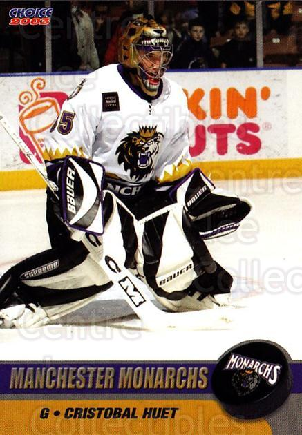 2002-03 Manchester Monarchs #B08 Cristobal Huet<br/>1 In Stock - $3.00 each - <a href=https://centericecollectibles.foxycart.com/cart?name=2002-03%20Manchester%20Monarchs%20%23B08%20Cristobal%20Huet...&quantity_max=1&price=$3.00&code=740555 class=foxycart> Buy it now! </a>