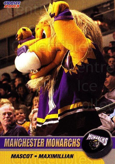 2002-03 Manchester Monarchs #B09 Mascot<br/>1 In Stock - $3.00 each - <a href=https://centericecollectibles.foxycart.com/cart?name=2002-03%20Manchester%20Monarchs%20%23B09%20Mascot...&quantity_max=1&price=$3.00&code=740556 class=foxycart> Buy it now! </a>