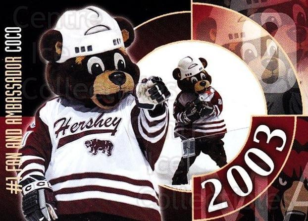 2002-03 Hershey Bears #29 Mascot<br/>1 In Stock - $3.00 each - <a href=https://centericecollectibles.foxycart.com/cart?name=2002-03%20Hershey%20Bears%20%2329%20Mascot...&quantity_max=1&price=$3.00&code=740832 class=foxycart> Buy it now! </a>