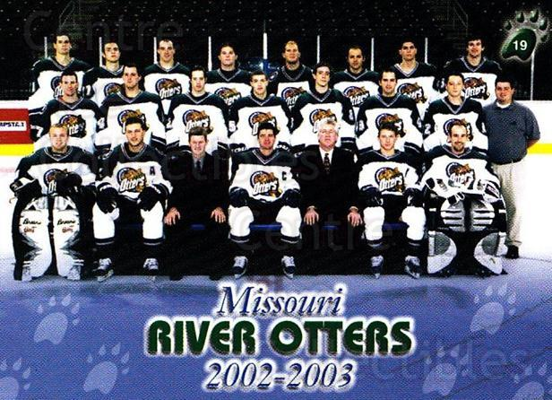 2002-03 Missouri River Otters #19 Team Photo, Mascot, Cheerleader<br/>1 In Stock - $3.00 each - <a href=https://centericecollectibles.foxycart.com/cart?name=2002-03%20Missouri%20River%20Otters%20%2319%20Team%20Photo,%20Mas...&quantity_max=1&price=$3.00&code=740852 class=foxycart> Buy it now! </a>