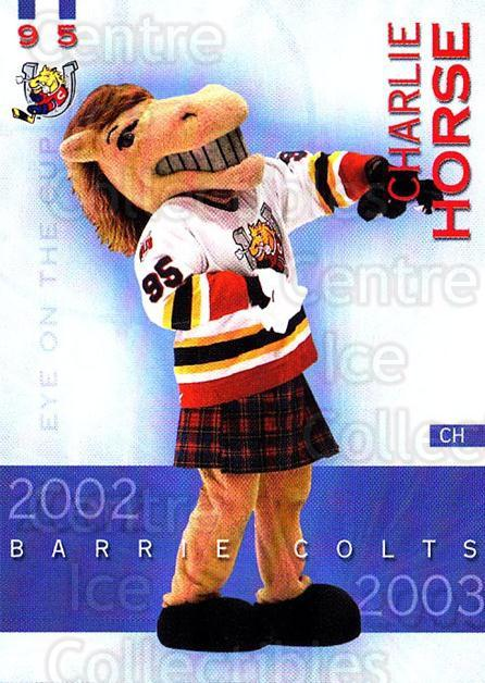 2002-03 Barrie Colts #23 Mascot, Checklist<br/>1 In Stock - $3.00 each - <a href=https://centericecollectibles.foxycart.com/cart?name=2002-03%20Barrie%20Colts%20%2323%20Mascot,%20Checkli...&quantity_max=1&price=$3.00&code=740935 class=foxycart> Buy it now! </a>