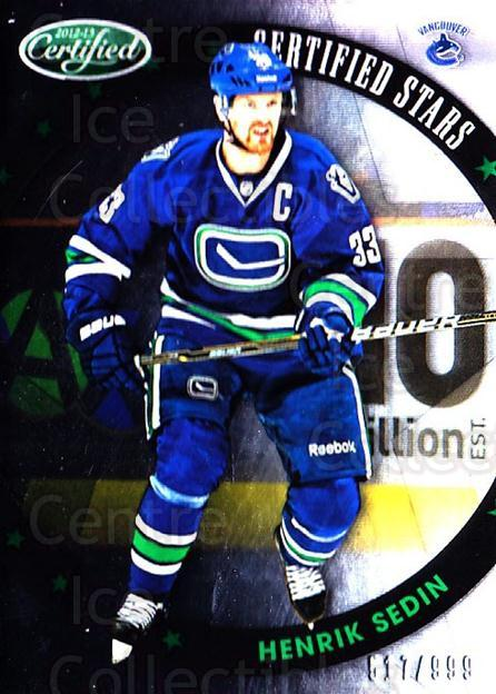 2012-13 Certified Stars #18 Henrik Sedin<br/>1 In Stock - $5.00 each - <a href=https://centericecollectibles.foxycart.com/cart?name=2012-13%20Certified%20Stars%20%2318%20Henrik%20Sedin...&quantity_max=1&price=$5.00&code=741791 class=foxycart> Buy it now! </a>