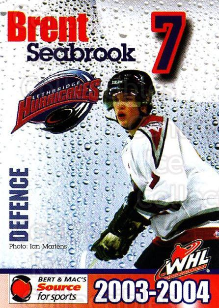 2003-04 Lethbridge Hurricanes #6 Brent Seabrook<br/>1 In Stock - $10.00 each - <a href=https://centericecollectibles.foxycart.com/cart?name=2003-04%20Lethbridge%20Hurricanes%20%236%20Brent%20Seabrook...&quantity_max=1&price=$10.00&code=742244 class=foxycart> Buy it now! </a>