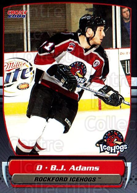 2003-04 Rockford Ice Hogs #1 BJ Adams<br/>3 In Stock - $3.00 each - <a href=https://centericecollectibles.foxycart.com/cart?name=2003-04%20Rockford%20Ice%20Hogs%20%231%20BJ%20Adams...&quantity_max=3&price=$3.00&code=742433 class=foxycart> Buy it now! </a>