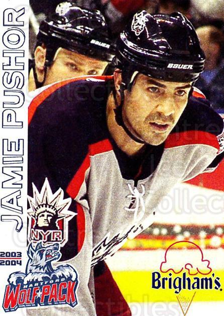2003-04 Hartford Wolf Pack #20 Jamie Pushor<br/>2 In Stock - $3.00 each - <a href=https://centericecollectibles.foxycart.com/cart?name=2003-04%20Hartford%20Wolf%20Pack%20%2320%20Jamie%20Pushor...&quantity_max=2&price=$3.00&code=742601 class=foxycart> Buy it now! </a>