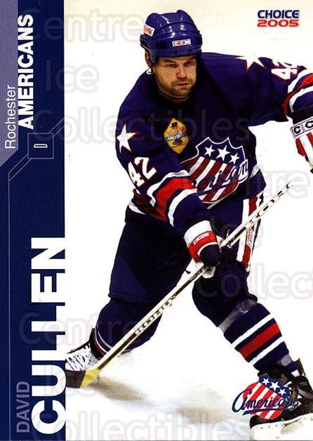 2004-05 Rochester Americans #4 David Cullen<br/>1 In Stock - $3.00 each - <a href=https://centericecollectibles.foxycart.com/cart?name=2004-05%20Rochester%20Americans%20%234%20David%20Cullen...&quantity_max=1&price=$3.00&code=743265 class=foxycart> Buy it now! </a>
