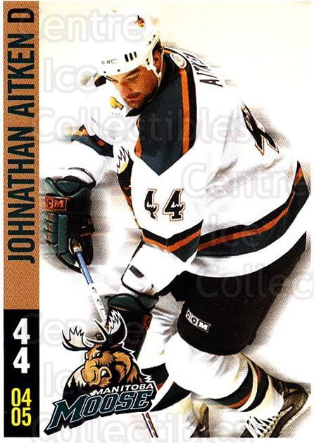 2004-05 Manitoba Moose #1 Johnathan Aitken<br/>2 In Stock - $3.00 each - <a href=https://centericecollectibles.foxycart.com/cart?name=2004-05%20Manitoba%20Moose%20%231%20Johnathan%20Aitke...&quantity_max=2&price=$3.00&code=743431 class=foxycart> Buy it now! </a>