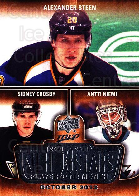 2014-15 Upper Deck MVP Player of the Month #3 Alexander Steen, Sidney Crosby, Antti Niemi<br/>1 In Stock - $5.00 each - <a href=https://centericecollectibles.foxycart.com/cart?name=2014-15%20Upper%20Deck%20MVP%20Player%20of%20the%20Month%20%233%20Alexander%20Steen...&quantity_max=1&price=$5.00&code=745927 class=foxycart> Buy it now! </a>