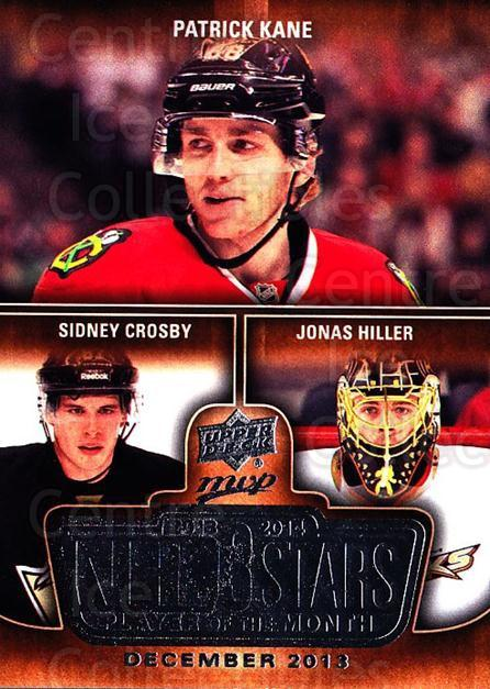2014-15 Upper Deck MVP Player of the Month #5 Patrick Kane, Sidney Crosby, Jonas Hiller<br/>1 In Stock - $5.00 each - <a href=https://centericecollectibles.foxycart.com/cart?name=2014-15%20Upper%20Deck%20MVP%20Player%20of%20the%20Month%20%235%20Patrick%20Kane,%20S...&quantity_max=1&price=$5.00&code=745929 class=foxycart> Buy it now! </a>