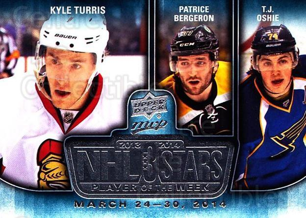 2014-15 Upper Deck MVP Player of the Week #11 Kyle Turris, Patrice Bergeron, TJ Oshie<br/>1 In Stock - $3.00 each - <a href=https://centericecollectibles.foxycart.com/cart?name=2014-15%20Upper%20Deck%20MVP%20Player%20of%20the%20Week%20%2311%20Kyle%20Turris,%20Pa...&quantity_max=1&price=$3.00&code=745940 class=foxycart> Buy it now! </a>