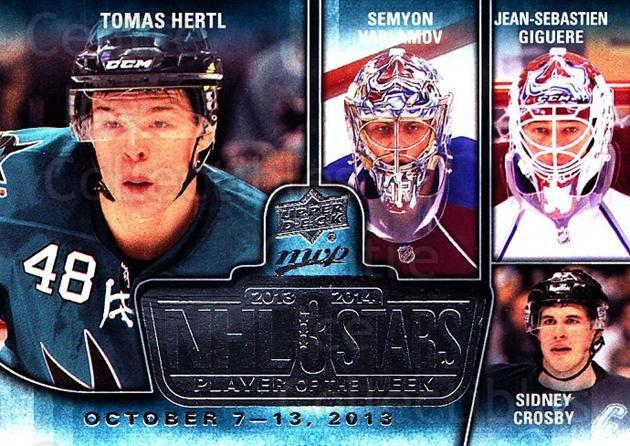 2014-15 Upper Deck MVP Player of the Week #15 Tomas Hertl, Semyon Varlamov, Jean-Sebastien Giguere, Sidney Crosby<br/>1 In Stock - $5.00 each - <a href=https://centericecollectibles.foxycart.com/cart?name=2014-15%20Upper%20Deck%20MVP%20Player%20of%20the%20Week%20%2315%20Tomas%20Hertl,%20Se...&quantity_max=1&price=$5.00&code=745944 class=foxycart> Buy it now! </a>