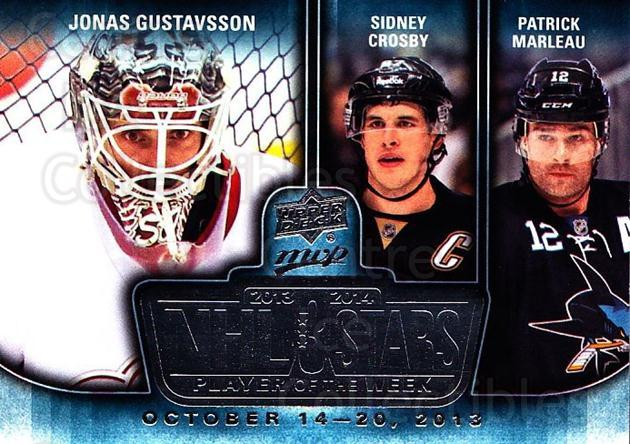 2014-15 Upper Deck MVP Player of the Week #16 Jonas Gustavsson, Sidney Crosby, Patrick Marleau<br/>2 In Stock - $5.00 each - <a href=https://centericecollectibles.foxycart.com/cart?name=2014-15%20Upper%20Deck%20MVP%20Player%20of%20the%20Week%20%2316%20Jonas%20Gustavsso...&quantity_max=2&price=$5.00&code=745945 class=foxycart> Buy it now! </a>