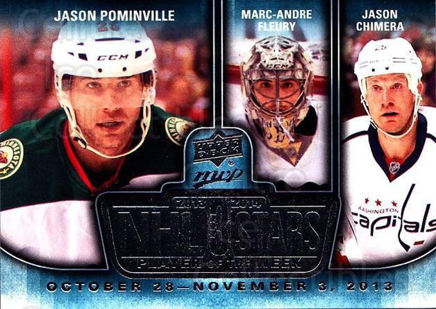 2014-15 Upper Deck MVP Player of the Week #18 Jason Pominville, Marc-Andre Fleury, Jason Chimera<br/>2 In Stock - $3.00 each - <a href=https://centericecollectibles.foxycart.com/cart?name=2014-15%20Upper%20Deck%20MVP%20Player%20of%20the%20Week%20%2318%20Jason%20Pominvill...&quantity_max=2&price=$3.00&code=745947 class=foxycart> Buy it now! </a>