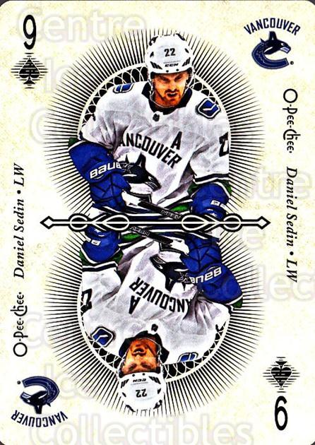 2018-19 O-Pee-Chee Playing Cards #35 Daniel Sedin<br/>1 In Stock - $3.00 each - <a href=https://centericecollectibles.foxycart.com/cart?name=2018-19%20O-Pee-Chee%20Playing%20Cards%20%2335%20Daniel%20Sedin...&quantity_max=1&price=$3.00&code=746022 class=foxycart> Buy it now! </a>