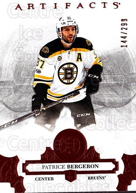 2017-18 UD Artifacts Red #8 Patrice Bergeron<br/>1 In Stock - $5.00 each - <a href=https://centericecollectibles.foxycart.com/cart?name=2017-18%20UD%20Artifacts%20Red%20%238%20Patrice%20Bergero...&quantity_max=1&price=$5.00&code=746775 class=foxycart> Buy it now! </a>