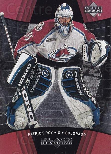 1999-00 Black Diamond #24 Patrick Roy<br/>4 In Stock - $3.00 each - <a href=https://centericecollectibles.foxycart.com/cart?name=1999-00%20Black%20Diamond%20%2324%20Patrick%20Roy...&quantity_max=4&price=$3.00&code=74716 class=foxycart> Buy it now! </a>