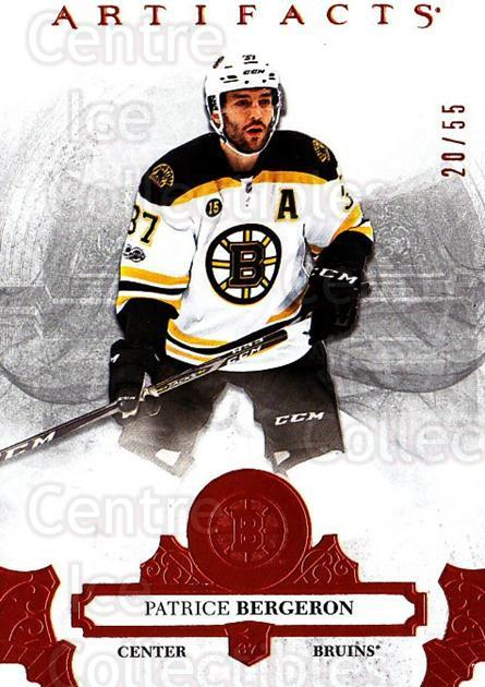 2017-18 UD Artifacts Orange #8 Patrice Bergeron<br/>1 In Stock - $15.00 each - <a href=https://centericecollectibles.foxycart.com/cart?name=2017-18%20UD%20Artifacts%20Orange%20%238%20Patrice%20Bergero...&quantity_max=1&price=$15.00&code=747215 class=foxycart> Buy it now! </a>