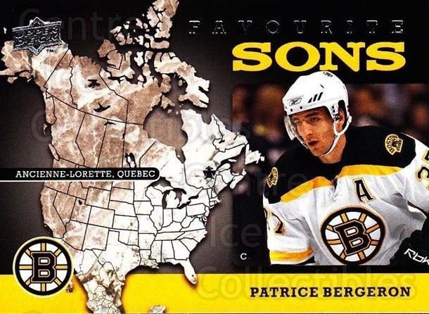 2008-09 Upper Deck Favourite Sons #14 Patrice Bergeron<br/>1 In Stock - $3.00 each - <a href=https://centericecollectibles.foxycart.com/cart?name=2008-09%20Upper%20Deck%20Favourite%20Sons%20%2314%20Patrice%20Bergero...&quantity_max=1&price=$3.00&code=747792 class=foxycart> Buy it now! </a>