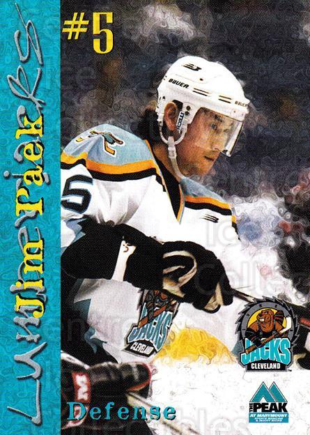 1999-00 Cleveland Lumberjacks #15 Jim Paek<br/>1 In Stock - $3.00 each - <a href=https://centericecollectibles.foxycart.com/cart?name=1999-00%20Cleveland%20Lumberjacks%20%2315%20Jim%20Paek...&quantity_max=1&price=$3.00&code=74817 class=foxycart> Buy it now! </a>