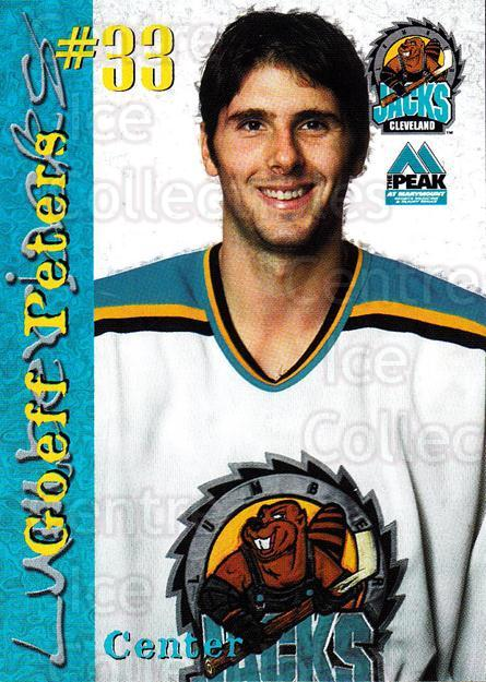 1999-00 Cleveland Lumberjacks #18 Geoff Peters<br/>4 In Stock - $3.00 each - <a href=https://centericecollectibles.foxycart.com/cart?name=1999-00%20Cleveland%20Lumberjacks%20%2318%20Geoff%20Peters...&quantity_max=4&price=$3.00&code=74820 class=foxycart> Buy it now! </a>