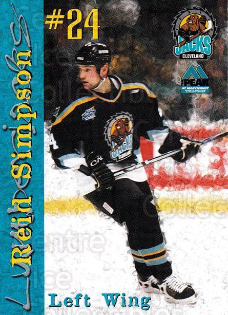 1999-00 Cleveland Lumberjacks #21 Reid Simpson<br/>3 In Stock - $3.00 each - <a href=https://centericecollectibles.foxycart.com/cart?name=1999-00%20Cleveland%20Lumberjacks%20%2321%20Reid%20Simpson...&quantity_max=3&price=$3.00&code=74823 class=foxycart> Buy it now! </a>