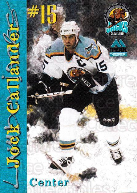 1999-00 Cleveland Lumberjacks #4 Jock Callander<br/>1 In Stock - $3.00 each - <a href=https://centericecollectibles.foxycart.com/cart?name=1999-00%20Cleveland%20Lumberjacks%20%234%20Jock%20Callander...&quantity_max=1&price=$3.00&code=74828 class=foxycart> Buy it now! </a>