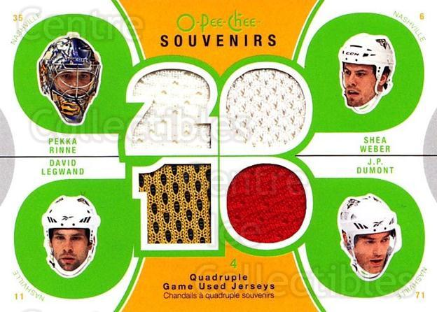 2010-11 O-Pee-Chee Souvenirs #PRED Shea Weber, JP Dumont, Pekka Rinne, David Legwand<br/>1 In Stock - $10.00 each - <a href=https://centericecollectibles.foxycart.com/cart?name=2010-11%20O-Pee-Chee%20Souvenirs%20%23PRED%20Shea%20Weber,%20JP%20...&quantity_max=1&price=$10.00&code=748798 class=foxycart> Buy it now! </a>