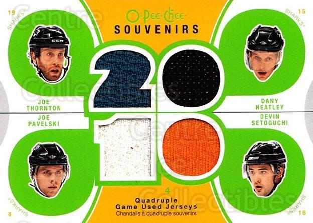 2010-11 O-Pee-Chee Souvenirs #SJS Devin Setoguchi, Joe Thornton, Dany Heatley, Joe Pavelski<br/>1 In Stock - $10.00 each - <a href=https://centericecollectibles.foxycart.com/cart?name=2010-11%20O-Pee-Chee%20Souvenirs%20%23SJS%20Devin%20Setoguchi...&quantity_max=1&price=$10.00&code=748802 class=foxycart> Buy it now! </a>