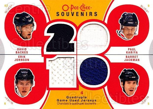 2010-11 O-Pee-Chee Souvenirs #STL Barret Jackman, Paul Kariya, Erik Johnson, David Backes<br/>1 In Stock - $10.00 each - <a href=https://centericecollectibles.foxycart.com/cart?name=2010-11%20O-Pee-Chee%20Souvenirs%20%23STL%20Barret%20Jackman,...&quantity_max=1&price=$10.00&code=748803 class=foxycart> Buy it now! </a>