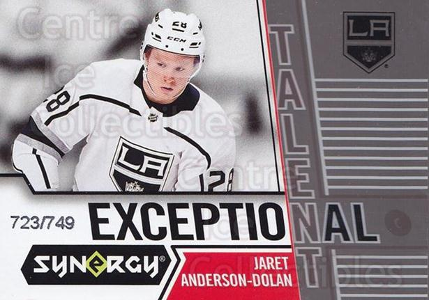 2018-19 Synergy Exceptional Talent #29 Jaret Anderson-Dolan<br/>2 In Stock - $5.00 each - <a href=https://centericecollectibles.foxycart.com/cart?name=2018-19%20Synergy%20Exceptional%20Talent%20%2329%20Jaret%20Anderson-...&quantity_max=2&price=$5.00&code=749937 class=foxycart> Buy it now! </a>
